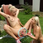 Blonde Spreads Pussy