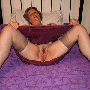 Hairy granny spreads