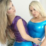 Blonde latex lesbian