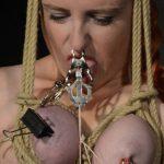 Hairtied amateur slave Fionas breast bondage
