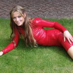 Sexy blonde Alis red outdoor latex