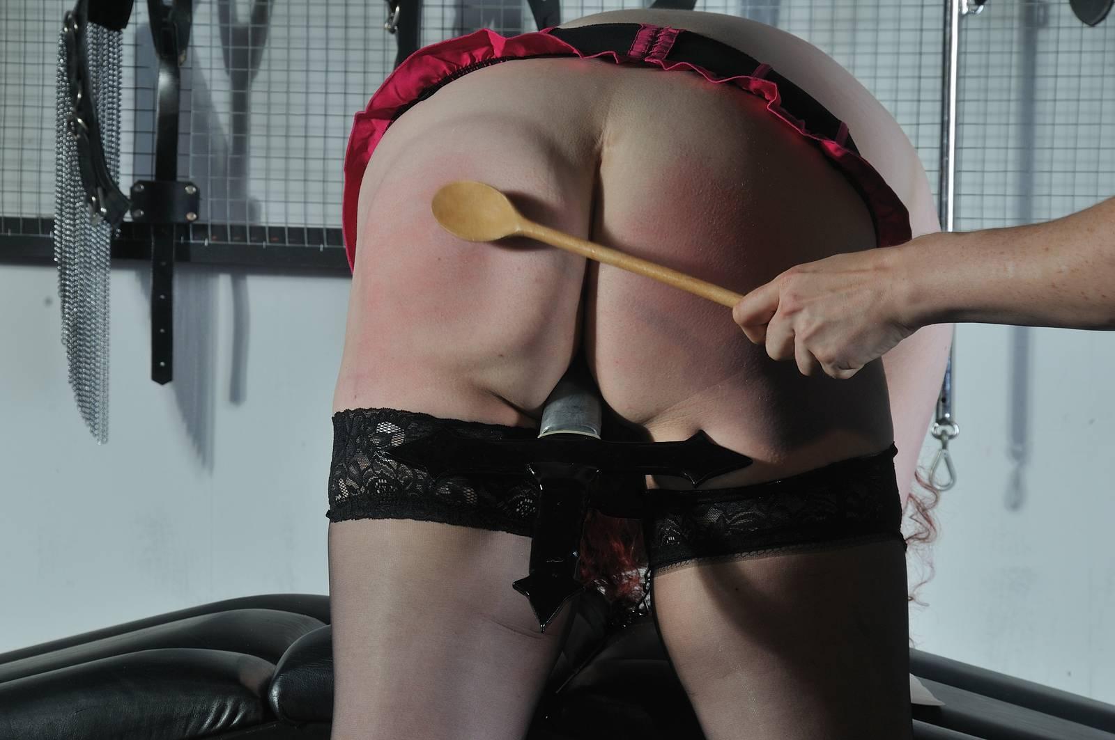 Blindfolded lesbian amateur spanking