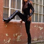 Full body latex catsuit and rubber heels